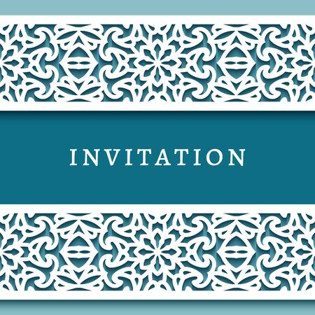 Cutout paper frame with ornamental border pattern. Swirly template for laser cutting. Elegant wedding invitation card design with lace decoration Vettoriali