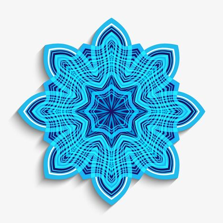 Round mandala ornament with wavy lines. Cutout paper snowflake decoration on white background. Vettoriali