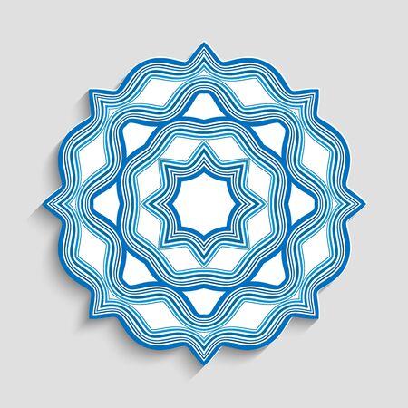 Round mandala ornament with wavy lines. Vettoriali