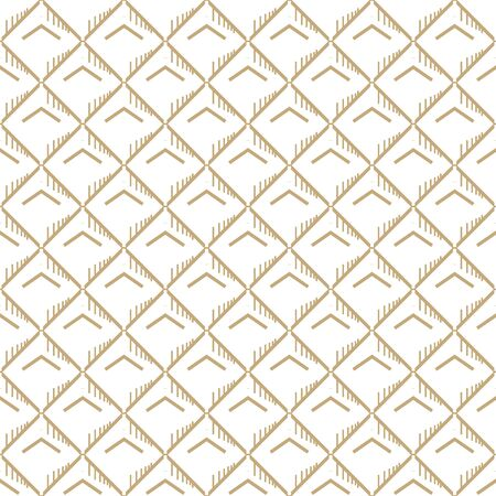 Abstract simple pattern with golden lines and hatches. White and gold ornamental background. Seamless geometric texture in minimal style.