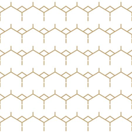 Simple geometric pattern with golden zigzag lines. White and gold ornamental background. Abstract seamless texture in minimal style.