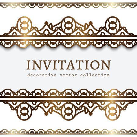 Vintage gold frame with ornamental borders. Curly template for laser cutting. Elegant golden decoration for wedding invitation card design. Vettoriali