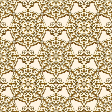 Vintage gold seamless pattern with round ornaments, golden brocade texture, repeating ornamental background.