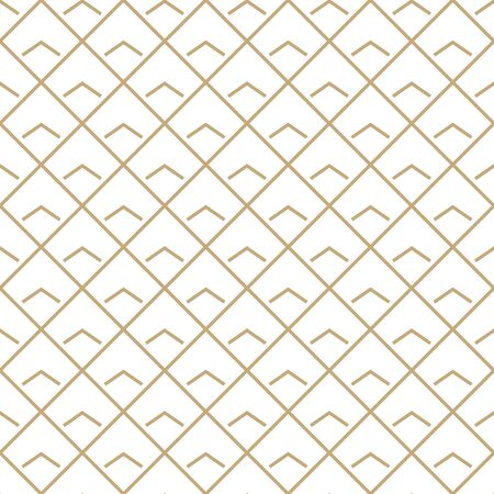 Abstract simple pattern with golden grid. White and gold ornamental background. Seamless geometric texture in minimal style. Vettoriali