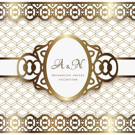 Vintage golden background with oval frame and seamless lace borders on geometric pattern. Elegant gold decoration for wedding invitation design. Scrapbook layout. Laser cutting template. Vettoriali