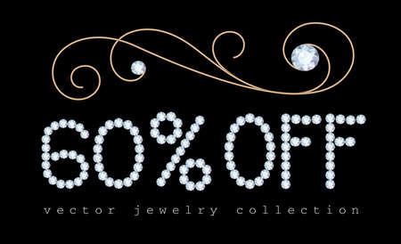 60% off, sale banner with diamond jewelry letters and gold jewellery decorative flourish on black Stock fotó - 151831645
