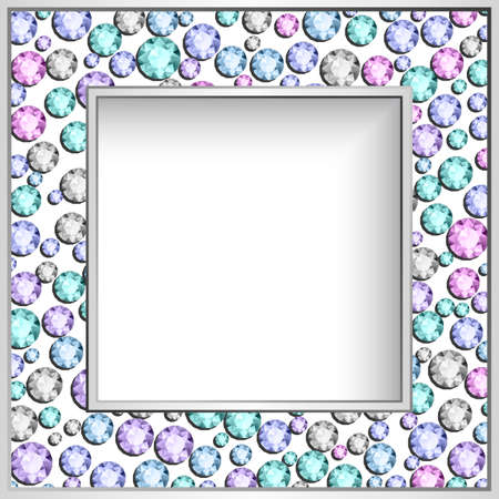 Square frame with diamond jewelry border pattern. Elegant jewellery decoration for wedding invitation card or packaging design. Picture frame layout. Illustration
