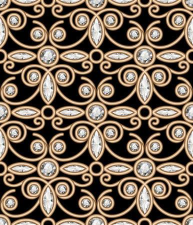 Vintage gold jewellery ornament, elegant jewelry seamless pattern with diamonds on black
