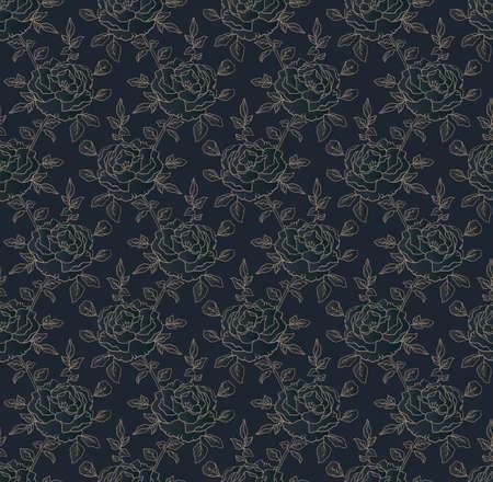 Golden roses on dark blue, seamless floral pattern, elegant ornamental background for wedding invitation card or packaging design
