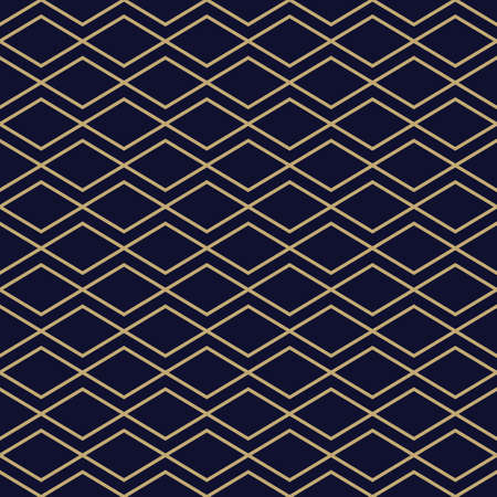 Abstract geometric pattern with golden zigzag lines. Simple diamond ornament. Elegant gold and black background. Seamless texture in minimal style. Vettoriali