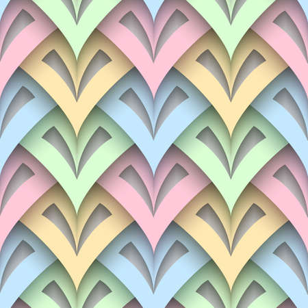 Abstract seamless pattern, paper squama texture, colorful background with cutout paper scale