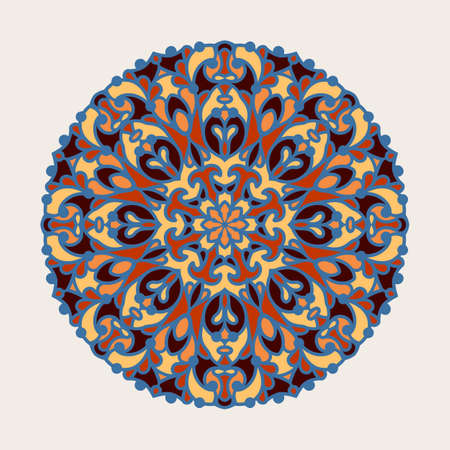 Abstract round floral pattern. Colorful circle decoration in Arabic style. Elegant mandala ornament on white background.