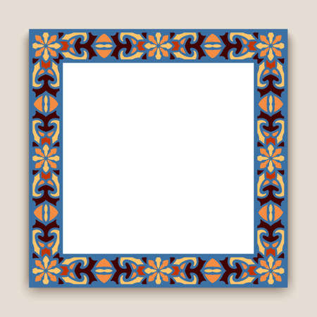Square frame with floral border pattern. Ornamental decoration for wedding invitation or certificate design in folk style.