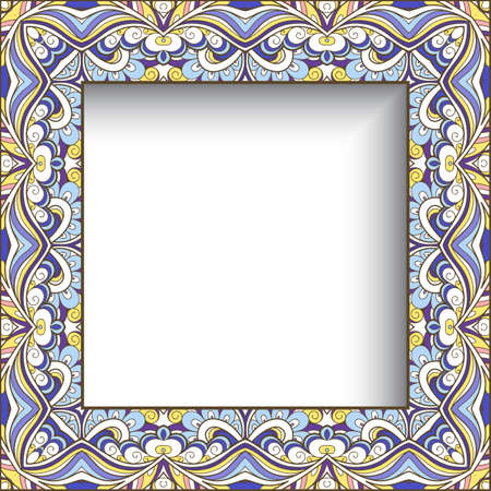 Square frame with abstract wavy border pattern. Ornamental scrapbook layout. Elegant decoration for wedding invitation or packaging design. Stock fotó - 153332285