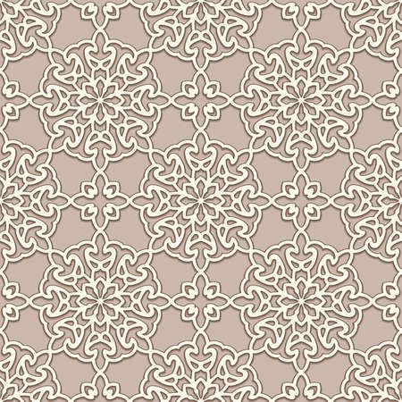 Seamless lace texture, swirly line pattern, ornamental background in beige color