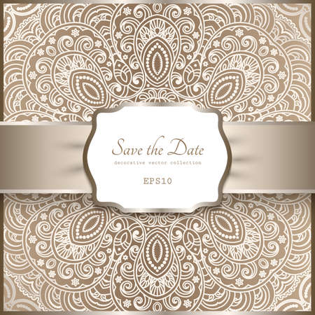 Vintage beige ornamental background with floral lace pattern, shiny label with satin ribbon, elegant decoration in neutral color for wedding invitation or packaging design. Vettoriali