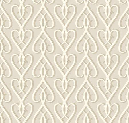 Vintage seamless pattern, ornamental wallpaper in neutral beige colors, elegant background for wedding invitation card or packaging design