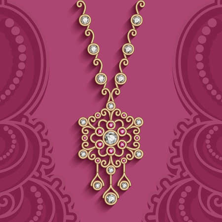 Vintage jewelry necklace, decorated with diamonds and ruby gems. Women's jewellery gold decoration in ethnic style on ornamental pink background 向量圖像