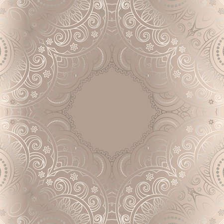 Vintage frame with curly line pattern. Ornamental beige background. Elegant wedding invitation card or packaging design. Vettoriali