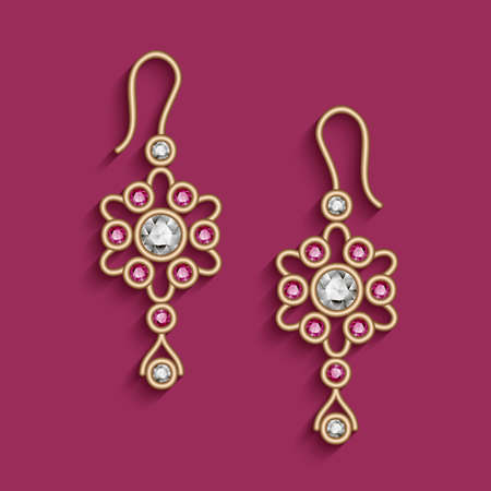 Vintage gold jewelry earrings with diamonds and ruby gems, filigree jewellery pendants, beautiful women's decoration