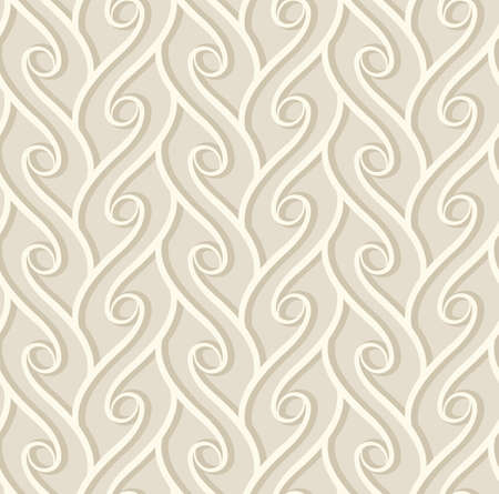 Vintage seamless pattern with curly lines, ornamental background in subtle beige colors Vettoriali