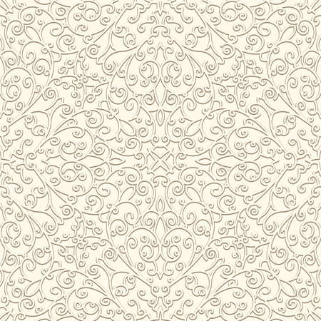 Vintage swirly seamless pattern in pale color, ornamental white background for wedding invitation card design Stock fotó - 153573597