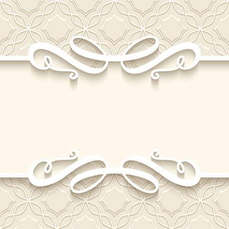 Vintage frame with cutout paper borders on ornamental beige background, elegant flourish vignette, wedding invitation card template. Place for text. Stock fotó - 154051377