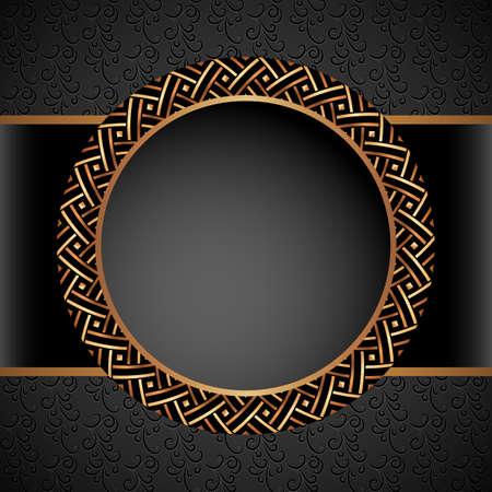 Vintage gold round frame with metal geometric border pattern on ornamental black background