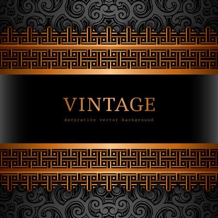 Vintage gold background, ornamental vector frame with golden border pattern Stock fotó - 154196160