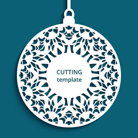 Christmas decoration with lace pattern, cutout paper bauble hanging, round xmas ornament, label, template for laser cutting. Place for text.