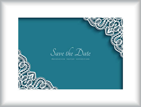 Rectangle frame with lace corner patterns, cutout paper ornament, elegant decoration for wedding invitation or place card design. Place for text. Stock fotó - 155067118