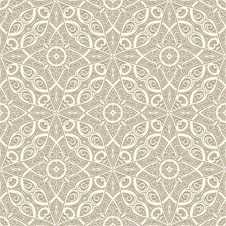 Lace texture, seamless pattern, vintage ornamental background in neutral beige color Vettoriali