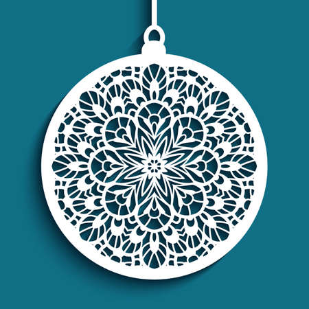 Christmas ornament with lace pattern, cutout paper bauble hanging on ribbon, round xmas decoration, swirly template for laser cutting.