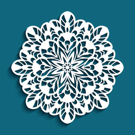 Round lace doily, Christmas ornament, cutout paper snowflake, crochet mandala circle pattern, swirly template for laser cutting Vecteurs