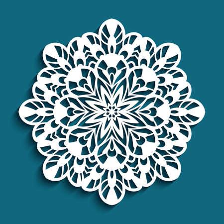 Round lace doily, Christmas ornament, cutout paper snowflake, crochet mandala circle pattern, swirly template for laser cutting Vettoriali
