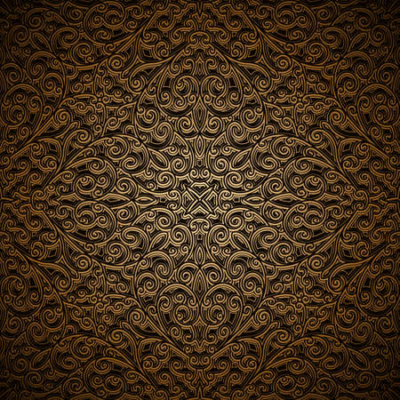 Vintage gold ornamental background with swirly floral pattern