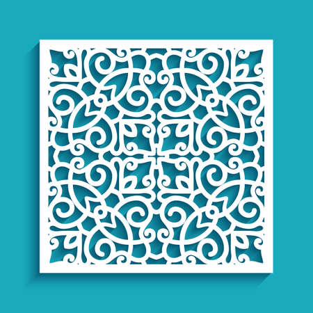 Square tile with cutout paper swirls, floral lace texture, ornamental panel with stencil pattern, elegant template for laser cutting or wood carving