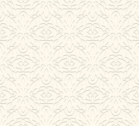 Vintage beige ornamental background, embossed paper texture, seamless pattern in neutral color