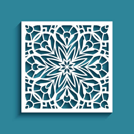 Vintage lace decoration with cutout paper ornament, square tile with floral stencil pattern, elegant template for laser cutting or wood carving