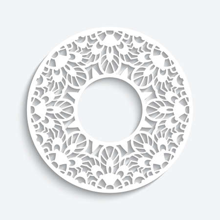 Round frame with cutout paper pattern. Elegant template for laser cutting. Circle ornamental label. White lace decoration for wedding invitation card or scrapbook design. Place for text. Vettoriali
