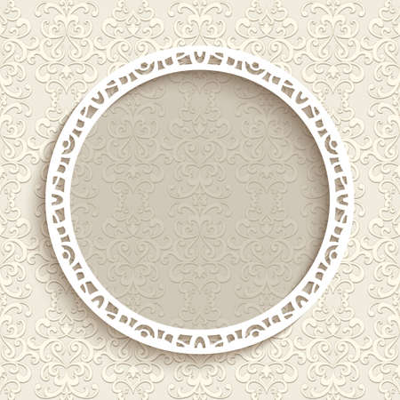 Round frame with cutout paper border pattern on beige background, circle label, elegant lace decoration for wedding invitation or greeting card design with place for text