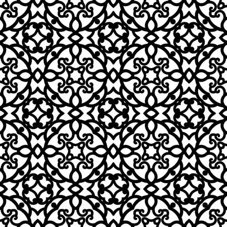 Black and white background, seamless swirl pattern, curly lace texture, abstract lattice ornament for anti stress coloring book