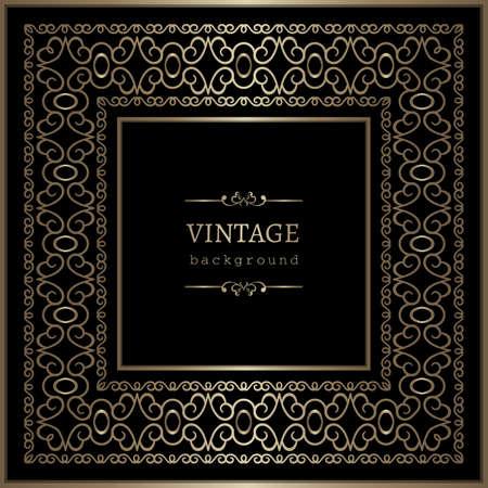 Vintage gold square frame with lace border pattern on black background, elegant golden decoration for certificate decor or wine label design. Place for text.