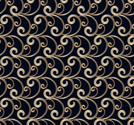Vintage gold scroll pattern with floral swirls in rococo style. Elegant seamless golden texture on black background. Ilustração