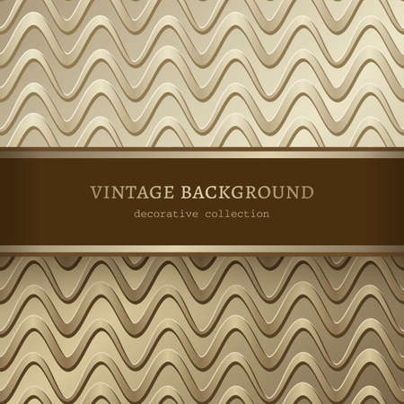 Golden background with abstract wavy pattern. Elegant gold frame. Wedding invitation or packaging design template.