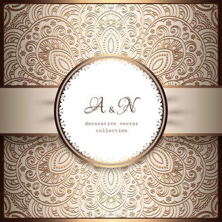 Vintage beige ornamental background with golden floral pattern, shiny label with satin ribbon, elegant decoration in neutral color for wedding invitation or packaging design.