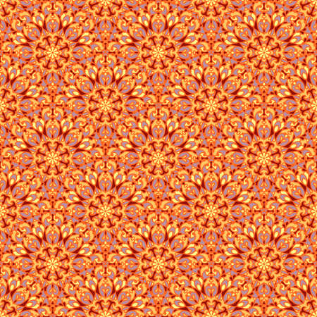 Abstract curly ornament in bright red and yellow colors, decorative ornamental tile, seamless geometric pattern