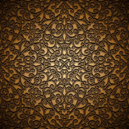 Vintage gold ornamental background with swirly floral pattern, antique brocade embroidery in medieval style