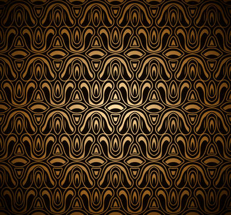 Vintage gold ornamental background with abstract floral pattern, antique scroll texture in medieval style Vettoriali