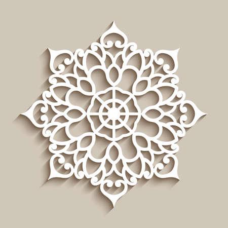 Lace doily, decorative snowflake, circle mandala ornament, cutout paper round pattern, laser cutting template